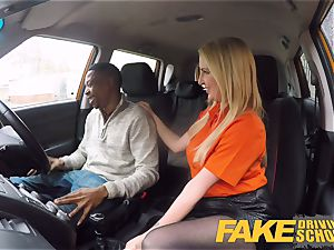 faux Driving college long ebony manmeat satisfies blondie