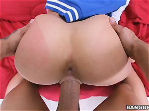 fat donk black-haired Ashley Adams riding in reverse cowgirl