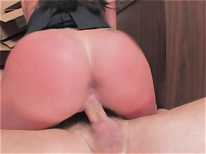 busty cockslut Kerry Louise gets stuffed stiff and earns a fat flow of scorching jizm