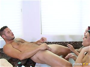 Maid Peta Jensen washes the honeypot of Monique Alexander and gets pussy thrashed by Danny Mountain