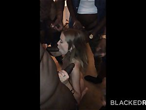 BLACKEDRAW nubile gets handed around and penetrated by group of BBCs