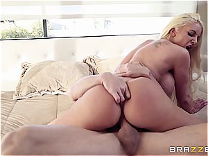 huge-boobed cowgirl rides a wondrous stallion