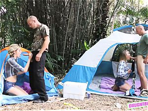 Alyssa Cole and Haley Reed swap dads on their camping excursion