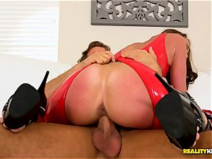 Aria Xcite penetrated deep in her muff pie with her splendid red spandex suit on