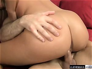 Ally Kay surprises this fellow with an unexpected meatpipe service