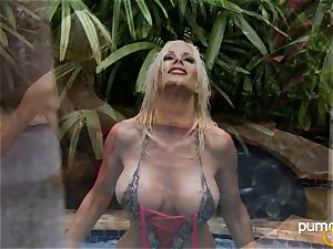 Puma Swede molten stunner smoking while in the pool
