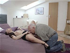 DADDY4K. daddy and young doll steaming sex in sofa culminates with internal ejaculation