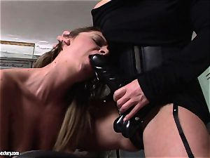Kathia Nobili lets a super hot chick deep-throat her cord on