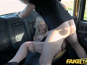 faux taxi blonde cougar Victoria Summers porked in a cab