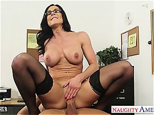 black-haired instructor Kendra fervor gets facialized