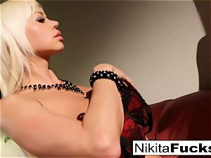 Nikita's ebony and crimson underwear solo