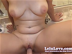 amateur quickie in the douche mirror with pov fellatio romp