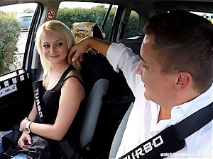 Strangers Voyeurs witnessing Czech taxi car in action