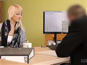 LOAN4K. Blonde-haired miss gets sissy smashed stiff in loan pornography vid