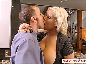 fabulous Bridgette B. takes trouser snake between her milk cans and pussy lips