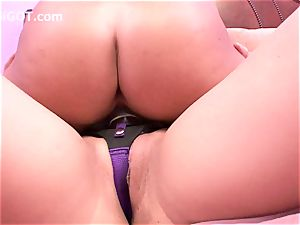 asian girl boinks very first time college lesbian in strap-on