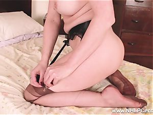 warm cougar fake penises toy to climax in tights suspenders