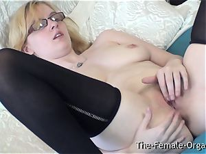 unspoiled Finger touching stroking Coed with ultra-cute udders