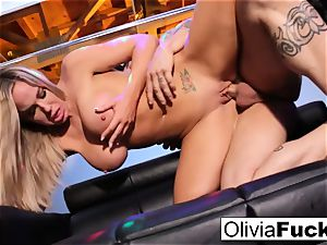 Stacked blonde stripper takes on a client in the VIP