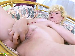 OldNannY blonde Mature Solo Titplay and frigging