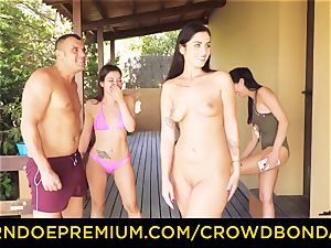 CROWD bondage Outdoor pool fucky-fucky for super-steamy Loren Minardi